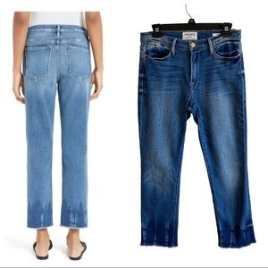 Frame le high straight cropped raw hem jean 27